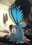 3girls absurdres blue_wings blurry blurry_background breasts brown_hair butterfly_wings closed_eyes collarbone commentary_request dated fetal_position flying from_side highres long_hair lying minigirl multiple_girls nude on_side original signature silk sleeping small_breasts tree_branch wings xiaobanbei_milk