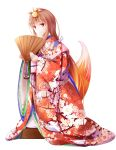 1girl alternate_costume animal_ears bangs brown_hair fan floral_print fudo_shin furisode hair_ornament highres holding holding_fan holo japanese_clothes kimono kneeling long_hair looking_at_viewer nail_polish obi print_kimono red_eyes red_nails sash shiny shiny_hair simple_background solo spice_and_wolf tail white_background wolf_ears wolf_tail