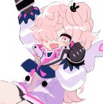 1girl :d black_gloves blue_neckwear bunny_hair_ornament clenched_hand commentary cowboy_shot elsword fang gloves hair_ornament hair_over_one_eye hand_up hood hooded_jacket jacket laby_(elsword) long_sleeves looking_at_viewer medium_hair neckerchief open_mouth pink_eyes pink_hair puffy_long_sleeves puffy_sleeves rumble_pumn_(elsword) seu_9(banya) side_ponytail simple_background smile solo standing white_background white_jacket zipper