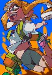 1girl :d absurdres bike_shorts blue_background breasts domino_mask fangs highres ink_tank_(splatoon) inkling long_hair mask midair open_mouth orange_eyes orange_hair paint pink_footwear pointy_ears shirt shoelaces shoes short_sleeves small_breasts smile sneakers solo splatoon splatoon_(series) splatoon_1 splattershot_(splatoon) suction_cups t-shirt teeth tentacle_hair white_shirt yaya_hiyayaka