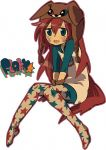 1girl artist_request blue_eyes flaky happy_tree_friends personification redhead white_background