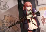 1girl absurdres ar-15 black_gloves blue_eyes blue_hair brown_hair closed_mouth fingerless_gloves girls_frontline gloves graffiti gun highres holding holding_gun holding_weapon idw_(girls_frontline) jacy lee-enfield_(girls_frontline) looking_at_viewer rifle short_hair short_twintails sniper_rifle solo st_ar-15_(girls_frontline) twintails wanted weapon