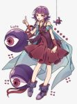 1girl bug cape character_name dress fire_emblem fire_emblem:_seima_no_kouseki full_body highres lute_(fire_emblem) monster nintendo open_mouth pikapika_hoppe purple_hair shoes simple_background sleeveless sleeveless_dress spider violet_eyes white_background