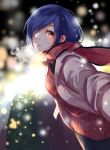1girl alternate_costume bangs black_legwear black_scarf blue_hair blurry blurry_background breasts bush commentary_request cowboy_shot from_side g4265059 grey_jacket hair_over_one_eye highres jacket kirishima_touka lights long_sleeves looking_at_viewer medium_breasts outdoors pants pink_scarf red_eyes red_sweater scarf short_hair snow solo striped striped_sweater sweater tokyo_ghoul winter_clothes