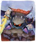 1boy armor cape galaxia_(sword) kirby_(series) male_focus mask meta_knight nintendo no_humans shiburingaru simple_background solo super_smash_bros. sword weapon wings yellow_eyes