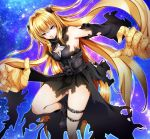 1girl bangs black_dress black_footwear black_sleeves blonde_hair boots breasts cleavage cleavage_cutout corset detached_sleeves dress eyebrows_visible_through_hair floating_hair gothic_lolita hair_between_eyes highres imo_(evekelu-111) konjiki_no_yami leg_up lolita_fashion long_hair long_sleeves medium_breasts red_eyes shiny shiny_hair sideboob solo standing standing_on_one_leg star_cutout thigh_strap to_love-ru torn_clothes torn_sleeves twintails very_long_hair