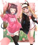 2girls :d ^_^ absurdres animal_ears animal_hat baseball_cap black_headwear black_jacket black_legwear blonde_hair blurry blurry_background blush brown_hair cat_ear_headphones cat_ears cat_girl cat_hat cat_tail character_name cherry_blossoms closed_eyes closed_eyes clothes_writing commentary_request depth_of_field drawstring fang flower hat headphones highres holding_hand hood hood_down hoodie jacket kmnz long_hair long_sleeves mc_lita mc_liz minowa_sukyaru multiple_girls nose_blush open_clothes open_jacket open_mouth petals pink_flower pink_hoodie pleated_skirt pointing skirt sleeves_past_wrists smile standing standing_on_one_leg tail thigh-highs tree very_long_hair violet_eyes virtual_youtuber white_hoodie white_skirt