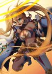 1girl absurdres armor bikini bikini_top blonde_hair boots bradamante_(fate/grand_order) braid breasts cleavage clenched_hand crown_braid elbow_gloves eyebrows_visible_through_hair fate/grand_order fate_(series) faulds french_braid gloves gradient gradient_background green_eyes hair_between_eyes highleg highleg_leotard highres holding holding_weapon knee_boots lance large_breasts leotard long_hair looking_at_viewer open_mouth orange_background polearm pose solo swimsuit thigh_strap thighs tunaragipv731 twintails two-tone_bikini very_long_hair weapon white_background