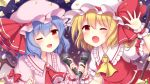 2girls ;d arm_up ascot bangs bat_wings black_wings blonde_hair blue_hair blush bow brooch commentary_request confetti eyebrows_visible_through_hair fang flandre_scarlet frilled_shirt_collar frilled_sleeves frills gem glint hat hat_ribbon holding holding_microphone jewelry looking_at_viewer medium_hair microphone mob_cap multiple_girls one_eye_closed open_mouth puffy_short_sleeves puffy_sleeves purple_background red_bow red_eyes red_neckwear red_ribbon red_skirt red_vest remilia_scarlet ribbon ruby_(gemstone) sanotsuki short_sleeves siblings sisters skirt smile star touhou upper_body vest waving white_headwear wings wrist_cuffs