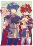 2boys 2others armor blue_eyes blue_hair blush cape creatures_(company) crown fingerless_gloves fire_emblem fire_emblem:_fuuin_no_tsurugi fire_emblem:_monshou_no_nazo fire_emblem:_shin_monshou_no_nazo fire_emblem_heroes game_freak gen_1_pokemon gen_2_pokemon gloves headband highres intelligent_systems jewelry jigglypuff kiriya_(552260) multiple_boys nintendo pichu pokemon pokemon_(creature) redhead roy_(fire_emblem) short_hair simple_background smile super_smash_bros. super_smash_bros_melee sword tiara weapon