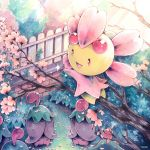 bush caomor cherrim cherry_blossoms closed_eyes commentary creatures_(company) fence flower game_freak gen_4_pokemon light_rays nintendo no_humans open_mouth outdoors pink_flower pokemon pokemon_(creature) smile sunbeam sunlight symbol_commentary traditional_media tree tree_branch watercolor_(medium)