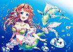1girl blue_eyes breasts bubble fish long_hair medium_breasts mermaid monster_girl orange_hair original smile solo underwater yukiuta_sahiro