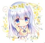 1girl :> azumi_kazuki bangs blue_eyes blue_hair blue_ribbon blush bow brown_footwear brown_sweater chibi closed_mouth commentary_request eyebrows_visible_through_hair flower flower_wreath full_body gochuumon_wa_usagi_desu_ka? hair_between_eyes hair_ornament hand_up head_wreath kafuu_chino kneehighs long_hair long_sleeves neck_ribbon pleated_skirt ribbon rose sailor_collar school_uniform serafuku skirt sleeves_past_wrists solo spoken_blush sweater very_long_hair white_flower white_legwear white_sailor_collar white_skirt x_hair_ornament yellow_bow yellow_flower yellow_rose