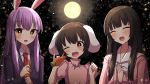 3girls :d \m/ animal_ears arms_up blurry blush bow bowtie bright_pupils brown_hair carrot commentary_request depth_of_field dress eyebrows_visible_through_hair fang forest full_moon hair_between_eyes hands_together head_tilt hime_cut holding houraisan_kaguya inaba_tewi light_particles long_hair long_sleeves looking_at_viewer moon multiple_girls nature necktie night night_sky one_eye_closed open_mouth outdoors pink_dress puffy_short_sleeves puffy_sleeves purple_hair rabbit_ears red_eyes red_neckwear reisen_udongein_inaba shirt short_hair short_sleeves sky smile standing suit_jacket touhou tsukimirin upper_body very_long_hair white_neckwear white_pupils white_shirt