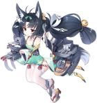 1girl :o animal_ear_fluff animal_ears antenna_hair azur_lane bare_shoulders black_hair blush bow cannon closed_eyes closed_mouth collarbone detached_sleeves dress fox_ears full_body green_bow green_dress green_sleeves grey_background hair_bow holding holding_wrench kaede_(003591163) long_hair long_sleeves looking_at_viewer machinery nose_blush official_art parted_lips red_eyes remodel_(azur_lane) rudder_footwear short_dress sleeveless sleeveless_dress sleeves_past_wrists smile thigh-highs transparent_background turret twintails very_long_hair white_legwear wide_sleeves wrench yellow_bow yuubari_(azur_lane) zouri