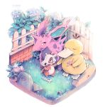 bone caomor closed_eyes commentary creatures_(company) cubone english_commentary fence flower game_freak gen_1_pokemon grave hand_holding holding holding_flower nidoran nintendo no_humans pink_flower plant pokemon psyduck simple_background tombstone traditional_media twitter_username watercolor_(medium) white_background