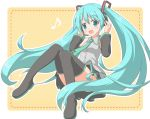 1girl :d aqua_eyes aqua_hair bangs bare_shoulders black_footwear black_legwear black_skirt black_sleeves blush boots collared_shirt commentary_request detached_sleeves eighth_note eyebrows_visible_through_hair full_body green_neckwear grey_shirt hair_between_eyes hair_ornament hands_up hatsune_miku headphones headset long_sleeves musical_note necktie open_mouth pleated_skirt shino_megumi shirt skirt sleeveless sleeveless_shirt smile solo thigh-highs thigh_boots tie_clip vocaloid
