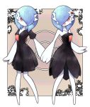 2girls alternate_color bare_shoulders black_dress blue_hair breasts cleavage creatures_(company) dress flower game_freak gardevoir gen_3_pokemon hair_flower hair_ornament hair_over_one_eye hand_holding highres lamb-oic029 looking_at_viewer medium_hair multiple_girls nintendo open_mouth pale_skin poke_ball_symbol pokemon red_eyes shiny shiny_clothes shiny_hair shiny_pokemon short_dress sideboob smile standing