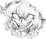 >:) 1girl :d bangs bow eyebrows_visible_through_hair eyelashes fangs frills hat mob_cap open_mouth remilia_scarlet ribbon shaded_face sharp_teeth shirt short_hair sketch smile space_jin teeth touhou tsurime