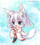 1girl animal_ear_fluff animal_ears bangs bare_shoulders black_legwear blue_eyes blush brown_footwear chibi commentary_request copyright_request detached_sleeves eyebrows_visible_through_hair food fox_ears fox_girl fox_tail full_body glint hair_between_eyes hair_ornament highres holding holding_food japanese_clothes kimono long_hair long_sleeves pleated_skirt popsicle red_skirt ribbon-trimmed_sleeves ribbon_trim ryuuka_sane silver_hair skirt sleeveless sleeveless_kimono solo standing tail thigh-highs twitter_username watermelon_bar white_kimono white_sleeves wide_sleeves