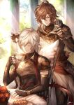 2boys armor brown_hair closed_eyes coffee_cup cookie cup disposable_cup elbow_gloves fingerless_gloves food gloves granblue_fantasy highres hood hood_down lucio_(granblue_fantasy) male_focus multiple_boys outdoors red_eyes sandalphon_(granblue_fantasy) short_hair sitting smile table tenyo0819 white_hair wings