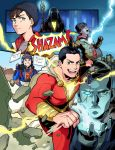 2019 aqua_eyes billy_batson brown_hair building cape closed_eyes commentary_request dc_comics doctor_sivana electricity fingerless_gloves freddy_freeman gloves green_eyes grin heterochromia highres jacket muscle notebook open_mouth scar scar_across_eye sen_(sen69) shazam shoes signature smile sneakers staff superhero sweater video_camera white_hair