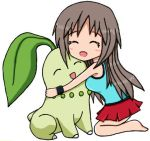 1girl 1other :d ^_^ blue_(pokemon) blush chikorita closed_eyes creatures_(company) cute deviantart game_freak gen_2_pokemon grey_hair hug long_hair lowres mindsebbandflow nintendo open_mouth pokemon pokemon_(creature) simple_background skirt