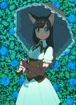 1girl animal_ears aqua_eyes bangs bell black_gloves black_hair blue_flower blue_rose breasts bridal_gauntlets cat_ears cat_girl collared_shirt cowboy_shot dress elbow_gloves eyebrows_visible_through_hair flower frilled_sleeves frilled_umbrella frills gloves highres holding holding_umbrella leaf long_hair looking_at_viewer medium_breasts nobile1031 original parasol plant puffy_short_sleeves puffy_sleeves rose shade shirt short_sleeves solo standing umbrella