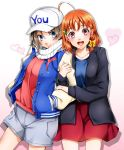 2girls :d ahoge baseball_cap black_jacket blue_cardigan blue_eyes blue_shirt bow brown_hair cardigan character_name clover_hair_ornament collarbone cowboy_shot grey_shorts hair_bow hair_ornament hands_in_pocket hat heart highres imo_(evekelu-111) jacket locked_arms long_sleeves looking_at_viewer love_live! love_live!_sunshine!! miniskirt multiple_girls open_cardigan open_clothes open_jacket open_mouth red_eyes red_skirt red_sweater scarf shirt short_hair short_shorts shorts simple_background skirt smile standing striped striped_scarf sweater takami_chika watanabe_you white_background white_headwear white_scarf yellow_bow