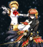 2girls aegis_(persona) android atlus black_background blonde_hair blue_eyes blue_hair eyebrows_visible_through_hair holding holding_weapon humanoid_robot imo_(evekelu-111) looking_at_viewer megami_tensei metis multiple_girls outstretched_arms parted_lips persona persona_3 red_eyes robot robot_girl short_hair siblings sisters weapon