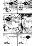... ._. 1boy 2girls ahoge_removed chibi comic fainting gap glasses greyscale hair_between_eyes hat hat_ribbon hidefu_kitayan indoors matara_okina mob_cap monochrome morichika_rinnosuke multiple_girls ribbon shelf spoken_ellipsis tabard touhou translation_request triangle_mouth yakumo_yukari