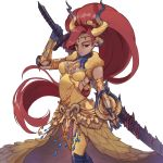 1girl absurdres armor armored_dress backless_outfit blue_lipstick bracer breastplate breasts buckler circlet commentary_request cosplay cross dark_skin dragon_horns dress elbow_pads eyeshadow feather_boa forehead_jewel gem gerudo gold_trim gorget greaves green_eyes hair_over_one_eye hair_pulled_back high_ponytail highres hijiri_haku_osame horns huge_weapon kulve_taroth_(armor) lipstick long_dress long_hair makeup medium_breasts monster_hunter monster_hunter:_world nintendo nose over_shoulder pointy_ears redhead scale_armor shield solo sword sword_over_shoulder the_legend_of_zelda the_legend_of_zelda:_breath_of_the_wild thick_eyebrows thigh-highs urbosa very_long_hair weapon weapon_over_shoulder