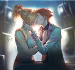 2girls afterlaughs backlighting black_shirt blonde_hair breasts freckles french_kiss hand_on_another's_neck hands_on_another's_chest kiss labcoat medium_breasts medium_hair mercy_(overwatch) midriff moira_(overwatch) multiple_girls necktie overwatch shirt short_hair short_ponytail signature sitting sitting_on_lap sitting_on_person sleeveless very_short_hair yuri