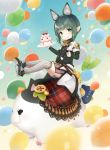 1girl :p animal_ears balloon bangs blunt_bangs blurry_foreground blush cake cat_teaser eating extra_ears eyebrows_visible_through_hair fat_cat_(ff14) final_fantasy final_fantasy_xiv food fork fox_ears green_eyes green_hair kanora lalafell pointy_ears riding shorts solo thigh-highs tongue tongue_out white_legwear