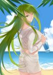 1other absurdres androgynous beach bottle citron_82 commentary_request enkidu_(fate/strange_fake) fate/strange_fake fate_(series) flower green_eyes green_hair hair_flower hair_ornament highres holding holding_bottle hood hoodie leaf light_green_hair long_hair looking_at_viewer ocean sand shorts smile solo very_long_hair water water_bottle white_hoodie white_shorts