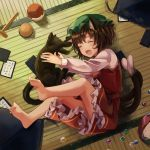 1girl animal_ears barefoot brown_hair cat cat_ears cat_tail chen chinese_clothes closed_eyes frilled_skirt frills green_headwear hat highres indoors jewelry long_sleeves lying mob_cap multiple_tails nekomata on_back open_mouth red_skirt red_vest sero3eta shirt single_earring skirt tail touhou two_tails vest white_shirt