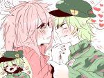 1boy 1girl couple flaky flippy gijinka green_hair happy_tree_friends japanese_text mondomedia personification redhead tagme yurushako