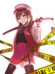 1girl absurdres backlighting black_legwear black_shirt bosumonki brown_hair caution_tape cowboy_shot earrings hand_up hat heart highres holding holding_sword holding_weapon jacket jewelry katana keep_out long_hair long_sleeves looking_at_viewer open_clothes open_jacket original over_shoulder peaked_cap pink_headwear pleated_skirt red_eyes red_jacket red_skirt sheath sheathed shirt shirt_tucked_in sidelocks simple_background skirt smile solo standing sword thigh-highs tonfa twintails weapon weapon_over_shoulder white_background zettai_ryouiki zipper