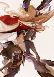 1girl armor bow_(weapon) brown_hair cape from_behind granblue_fantasy hair_ornament hair_wings leg_armor long_hair midriff nineo shorts simple_background solo song_(granblue_fantasy) thigh-highs weapon
