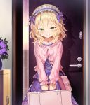 1girl bag bangs blonde_hair blush bow closed_mouth collarbone commentary_request door eyebrows_visible_through_hair floral_print flower frilled_hairband frilled_sleeves frills green_eyes hair_bow hairband handbag holding holding_suitcase idolmaster idolmaster_cinderella_girls indoors jewelry key lolita_hairband long_sleeves looking_at_viewer matanonki necklace pink_handbag plant potted_plant purple_bow purple_flower purple_skirt sakurai_momoka short_hair skirt smile solo standing suitcase white_hairband