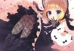 1girl :o absurdres animal_ears ankle_bow ankle_ribbon black_bow black_dress black_footwear black_headwear blonde_hair blue_eyes bow capelet chitosezaka_suzu dress eyebrows_visible_through_hair fake_animal_ears fishnet_gloves fishnets gloves gochuumon_wa_usagi_desu_ka? gothic_lolita hat hat_bow highres kirima_sharo layered_dress lolita_fashion long_dress looking_at_viewer petals rabbit_ears ribbon short_hair solo white_capelet wrist_bow