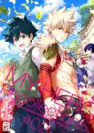 6+boys :d all_might alternate_costume bakugou_katsuki belt blonde_hair blue_hair blue_legwear boku_no_hero_academia brown_belt burn_scar clouds commentary_request copyright_name day detached_sleeves english_text eyebrows_visible_through_hair facial_hair fire flower freckles from_side glasses green_eyes green_hair hair_between_eyes hand_holding highres iida_tenya jewelry looking_at_viewer midoriya_izuku multicolored_hair multiple_boys muscle necklace omega_2-d open_mouth outdoors pants red_eyes red_flower redhead scar shirt short_hair smile spiky_hair todoroki_enji todoroki_shouto two-tone_hair upper_teeth white_flower white_hair white_shirt