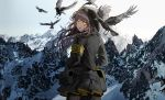 1girl :d bangs bird black_legwear black_skirt blush brown_hair commentary cowboy_shot crow day floating_hair from_behind girls_frontline grey_hair hair_between_eyes hair_ornament hands_in_pockets hood hood_up hooded_jacket jacket logo long_hair long_sleeves looking_at_viewer looking_back mountain one_side_up open_mouth outdoors pantyhose pouch scar scar_across_eye shirt sidelocks silence_girl skirt smile snow ump45_(girls_frontline) white_shirt wind yellow_eyes