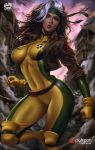 1girl abs belt bodysuit breasts headband highres jacket large_breasts logan_cure marvel multicolored_hair muscle muscular_female rogue_(x-men) solo two-tone_hair x-men