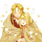 1boy 1girl ahoge bangs blanket blonde_hair blush closed_eyes dress_shirt edward_elric eyebrows_visible_through_hair fullmetal_alchemist heart nervous open_mouth shared_blanket shirt simple_background sweatdrop sweater translation_request tsukuda0310 under_covers v-shaped_eyebrows white_background winry_rockbell