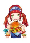 1girl artist_name bare_shoulders bracelet brown_hair cheese cropped_torso cucumber earrings food freckles green_eyes hamburger highres holding holding_food jewelry lettuce meat open_mouth original puppeteer7777 sidelocks simple_background smile solo sparkle tomato twintails upper_body white_background