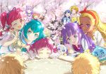 6+girls ;d aisaki_emiru amamiya_erena blue_hair cherry_blossoms fuwa_(precure) hagoromo_lala hoshi_(xingspresent) hoshina_hikaru hugtto!_precure kagayaki_homare kaguya_madoka looking_at_viewer multiple_girls nono_hana one_eye_closed open_mouth petals pom_poms precure prunce_(precure) redhead ruru_amour smile star_twinkle_precure twintails yakushiji_saaya