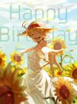 1girl ahoge blue_sky blurry blurry_background blush character_name closed_eyes clouds day dress emma_(yakusoku_no_neverland) facing_viewer flower happy happy_birthday hat highres mao_(pixiv_id_21075262) neck_tattoo orange_hair outstretched_hand petals short_hair sky smile solo standing straw_hat sun_hat sunflower tattoo white_dress yakusoku_no_neverland