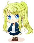 1girl :> arms_at_sides bangs black_jacket black_skirt blonde_hair blue_eyes boots chibi earrings eyebrows_visible_through_hair eyelashes eyes_visible_through_hair full_body fullmetal_alchemist happy jacket jewelry long_hair looking_away ponytail shadow shirt simple_background skirt smile solo tsukuda0310 white_background white_shirt winry_rockbell