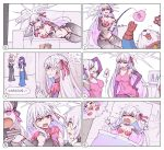 breasts cake chinese_commentary comic commentary_request couch dreaming dress fate/grand_order fate_(series) food halo jack_the_ripper_(fate/apocrypha) kama_(fate/grand_order) large_breasts lavender_hair long_hair lying me!me!me! multiple_girls numbered_panels nursery_rhyme_(fate/extra) pink_dress red_eyes sleeping tears trembling very_long_hair waero